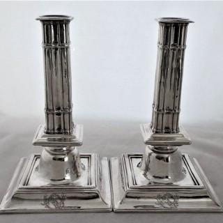 Very rare pair William III silver candle sticks London 1695 Benjamin Pyne 30 ounces
