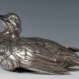 A CHARMING JAPANESE SILVERED BRONZE DUCK OKIMONO - MASATSUGU