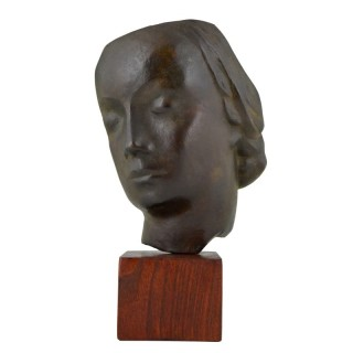 Art Deco bronze sculpture of a woman's face