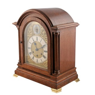 Oak Mantel Clock by Gustav Becker