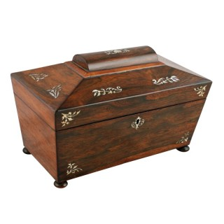 Rosewood Mother of Pearl Inlaid Tea Caddy