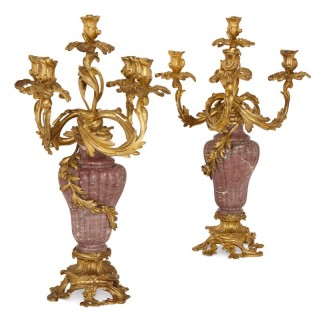 Pair of gilt bronze mounted marble candelabra
