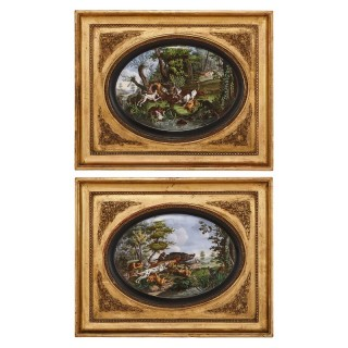 Pair of Paris porcelain plaques after Desportes