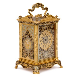 Antique enamelled gilt bronze carriage clock