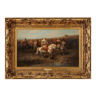 19th Century oil painting 'Arabian Horsemen' by Adolf Schreyer