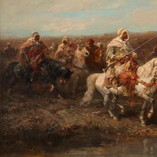 19th Century oil painting 'Arabian Horsemen' by Adolf Schreyer