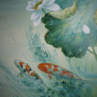 Oriental Koi Fish Carp Oil Painting Signed Canvas on Board