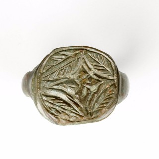 Medieval Bronze Ring with Foliate Design