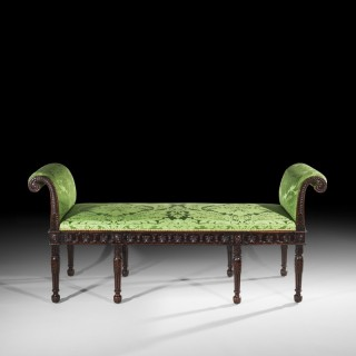 Fine Adam Neoclassical Style Mahogany Stool or Window Seat
