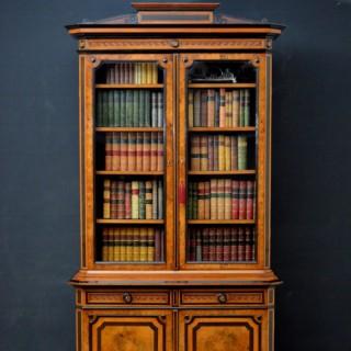 Turn of the Century Burr Walnut and Ebonised Bookcase