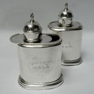 Antique George II Silver Tea Caddies with Sliding Tops