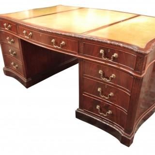 Large Late 19th Century Serpentine Partners Desk