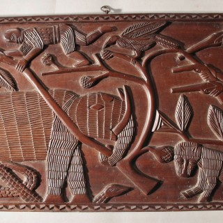 Benin Carved Hardwood Panels with Hunting Scenes Nigeria