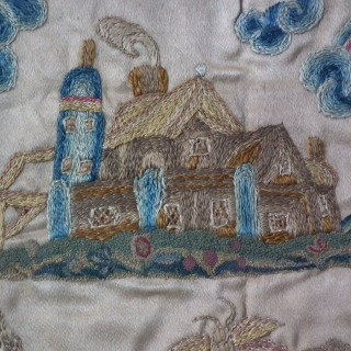 Charles II Antique Stumpwork Embroidery Picture