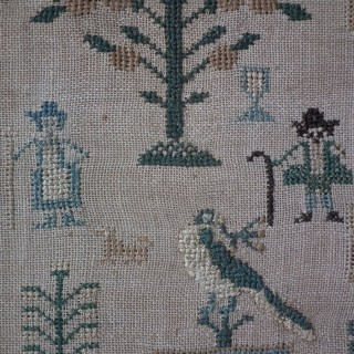 Antique House Sampler, 1828, by Jane Smith