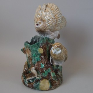 English Majolica Owls & Squirrel Vase