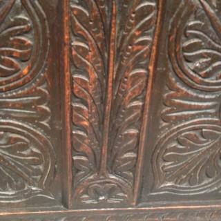 Charles II carved oak coffer.