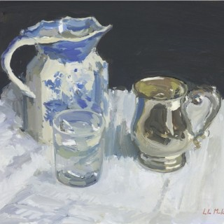 Lamplit still life with Silver Tankard Luke Martineau
