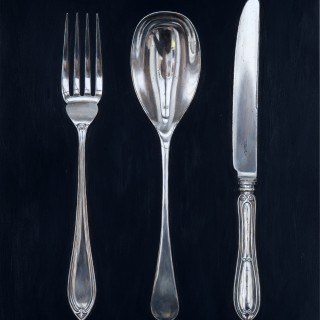 Fork, Spoon and Knife on Black by Rachel Ross