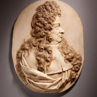 Marble portrait relief of a Magistrate, French, Louis XIV period
