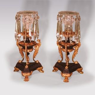 19th Century regency period bronze and ormolu Lustre Candlesticks