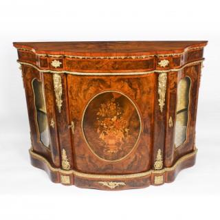 Antique Victorian Serpentine Burr walnut marquetry Credenza 19th C