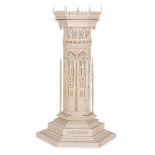 Antique carved ivory model of a tower