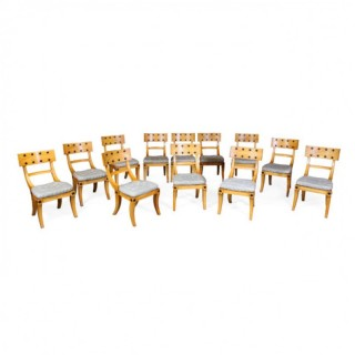 SET OF 12 SATINWOOD THOMAS HOPE STYLE DINING CHAIRS