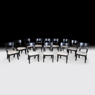 SET OF 12 EBONY THOMAS HOPE STYLE DINING CHAIRS
