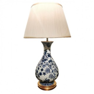 DELFT BLUE AND WHITE YUHUCHUNPING PEAR SHAPED BOTTLE VASE AS A LAMP