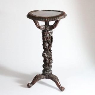 ANTIQUE CHINESE CARVED WOODEN VASE STAND