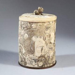 JAPANESE MEIJI SHIBAYAMA TALL IVORY CARVED BOX AND LID