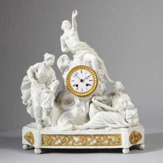 FRENCH ANTIQUE BISCUIT PORCELAIN MANTEL CLOCK