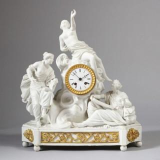 FRENCH ANTIQUE BISCUIT PORCELAIN MANTEL CLOCK