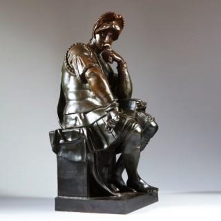 MICHELANGELO BRONZE SCULPTURE STATUE FROM LORENZO DE MEDICI TOMB CAST BY F BARBEDIENNE