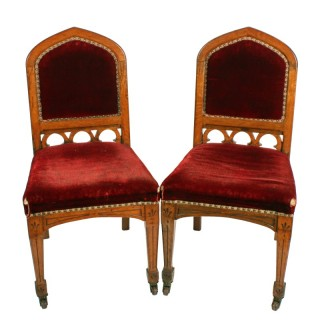 Pair of Oak Gothic Revival Chairs