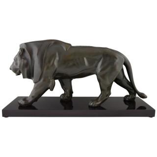 Art Deco sulpture of a walking lion