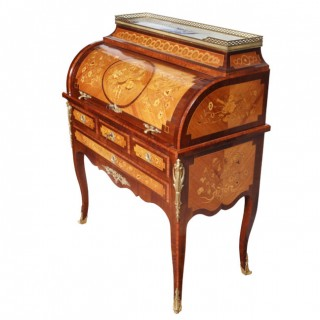 A LOUIS XVI STYLE FRENCH MARQUETRY ROLL TOP BUREAU DE DAMME