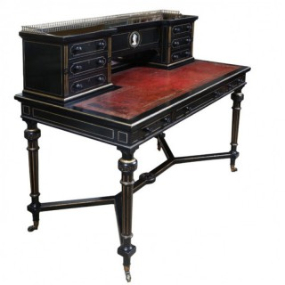 BRUCE JAMES TALBERT FOR GILLOWS AESTHETIC MOVEMENT EBONISED BLACK WRITING DESK