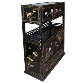 QING DYNASTY CHINESE BLACK LACQUER HARDSTONE INLAID CABINET