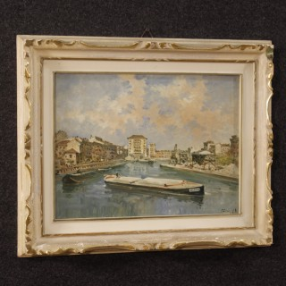 Italian landscape painting view of river with boats