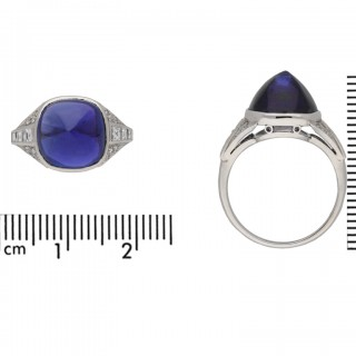 Art Deco colour change sapphire cabochon ring, circa 1930.
