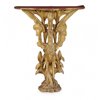 Chippendale Style Carved Giltwood Heron Side Table