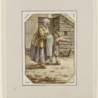 An Old Woman and Child Outside