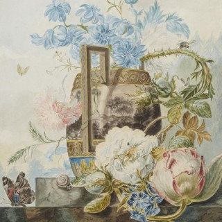 Tulips, Carnations, Blue Bells in a Vase with a Still-Life of Butterfly and Snail