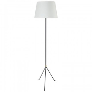 Black and Brass 1950s Tripod Floor Lamp