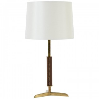 Brass and Brown Leather Table Lamp, in the Manner of Jacques Adnet