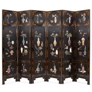 Chinese hardstone and lacquer folding screen