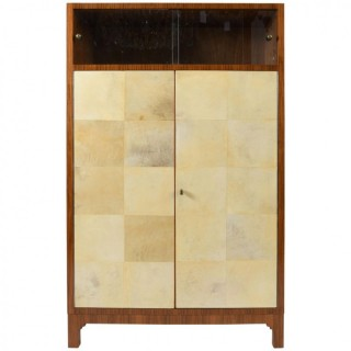 French 1940s Walnut and Velum Cabinet