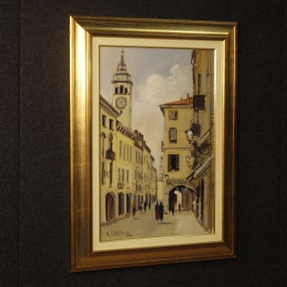 Italian signed painting view of the village oil on canvas
